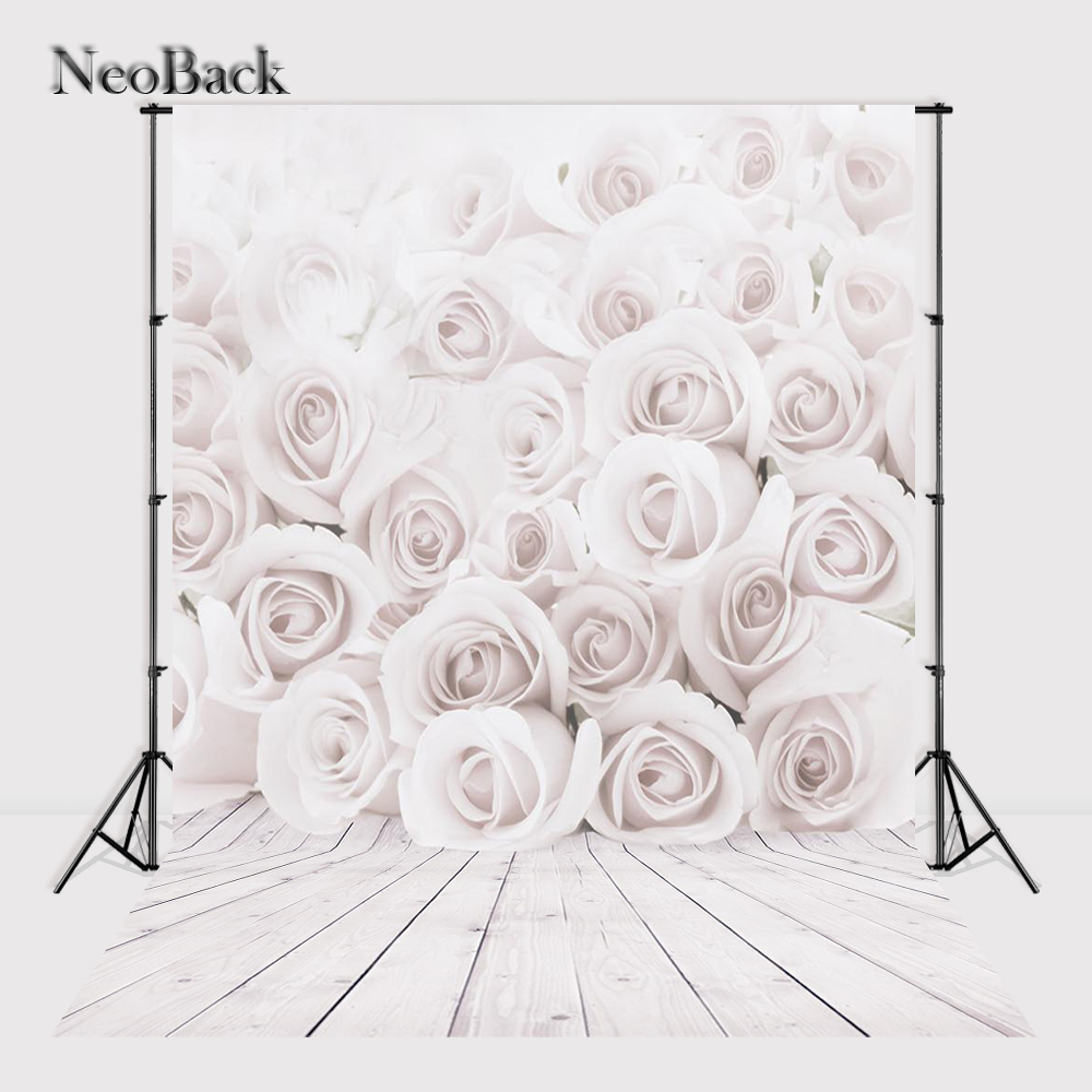 NeoBack 5x7ft Thin Vinyl White Rose Wood Wall Floor Photography Background For Studio Photo Props Photographic Backdrops P3081 new promotion newborn photographic background christmas vinyl photography backdrops 200cm 300cm photo studio props for baby l823