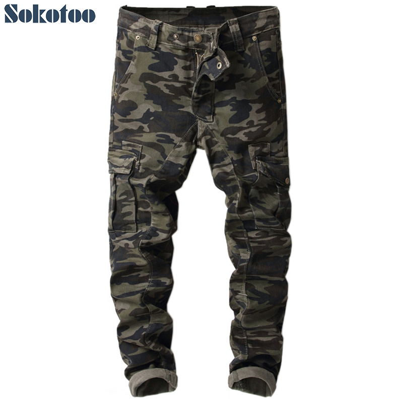 Sokotoo Men's Militaty Camouflage Pockets Cargo Pants Army Patchwork Slim Skinny Printed Jeans