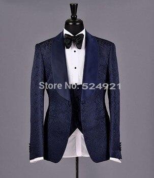 Новое поступление, шаль для жениха, сатиновые смокинги для жениха, темно синие мужские костюмы, Свадебный лучший мужской блейзер (пиджак + бр