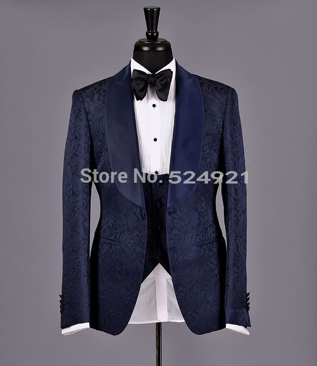 New Arrival Groomsmen Shawl Satin Lapel Groom Tuxedos Navy Blue Men Suits Wedding Best Man Blazer (Jacket+Pants+Tie+Vest) C312
