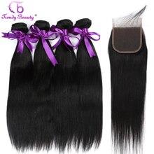 Модные красивые индийские прямые не Реми человеческие волосы 4 пучка с закрытием натурального черного цвета могут быть окрашены 8-28 дюймов