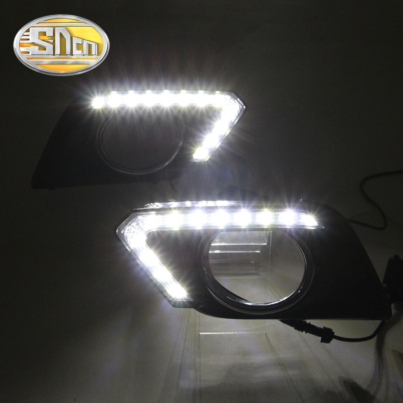 SNCN LED Daytime Running Light For Nissan X-trail 2014 2015 2016,Car Accessories Waterproof ABS 12V DRL Fog Lamp Decoration mr froger carcharodon megalodon model giant tooth shark sphyrna aquatic creatures wild animals zoo modeling plastic sea lift toy
