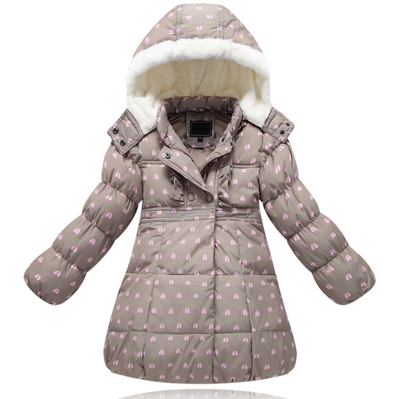 Winter Girl Down Jacket Thick Warm Coat For Girls Hooded Long Duck Down Jacket Dot Children's Winter Clothing 2 4 6 8 Years 2017 new winter fashion women down jacket hooded thick super warm medium long female coat long sleeve slim big yards parkas nz18