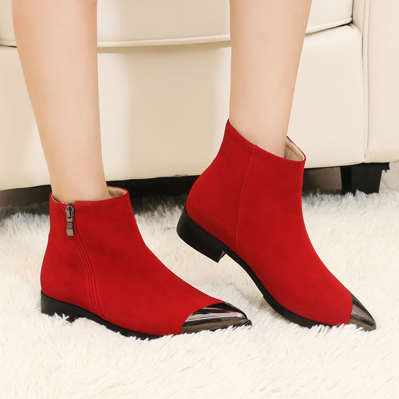 New Autumn And Winter Classic Career Fashion Low Heeled Pointed Toe Shoes Womens Black Leather Ankle Boots Sale High Quality