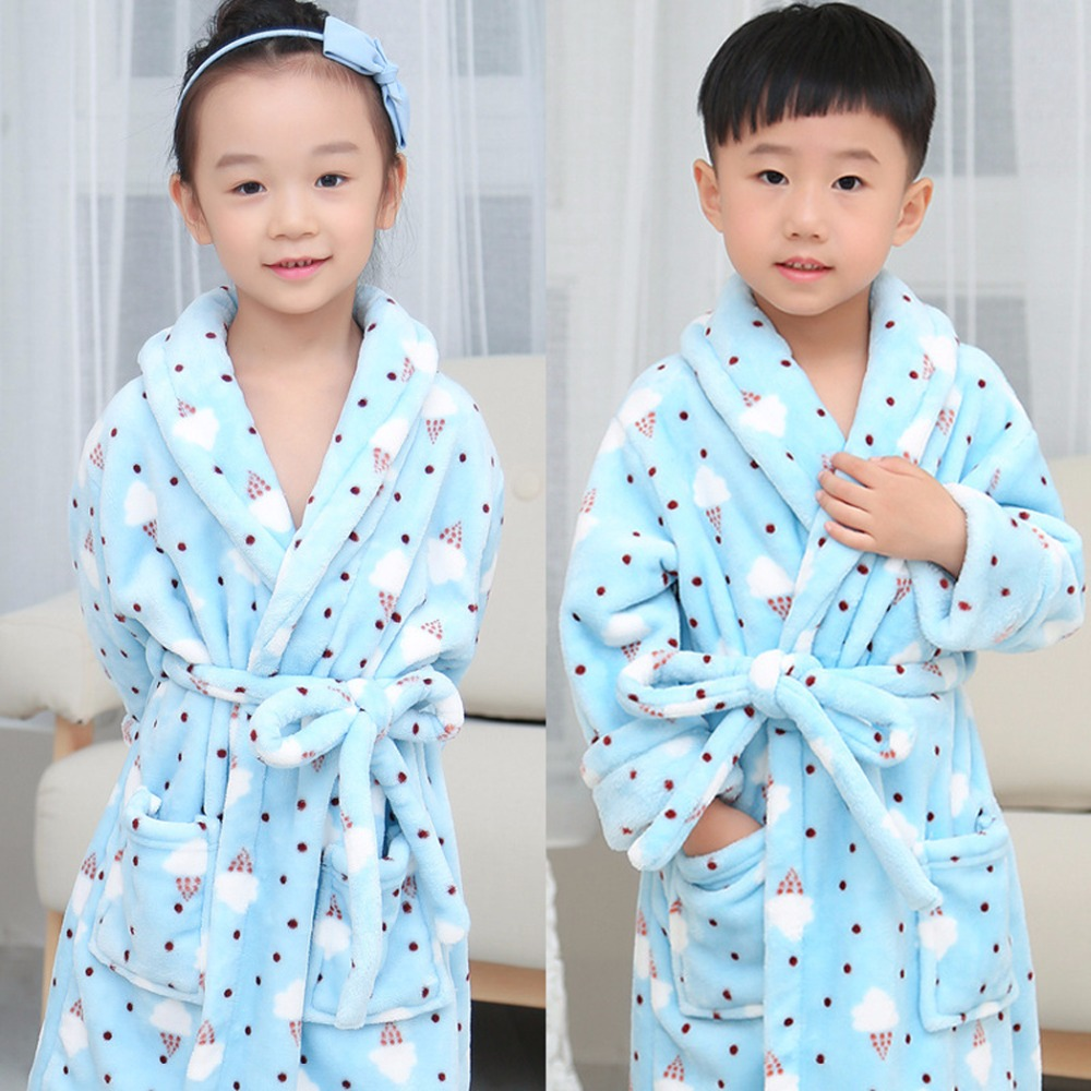 Autumn Winter Children Sleepwear Bathrobes Flannel Boys Girls Pajamas Home Clothes Baby Costume Soft Kids Robes peignoir enfant