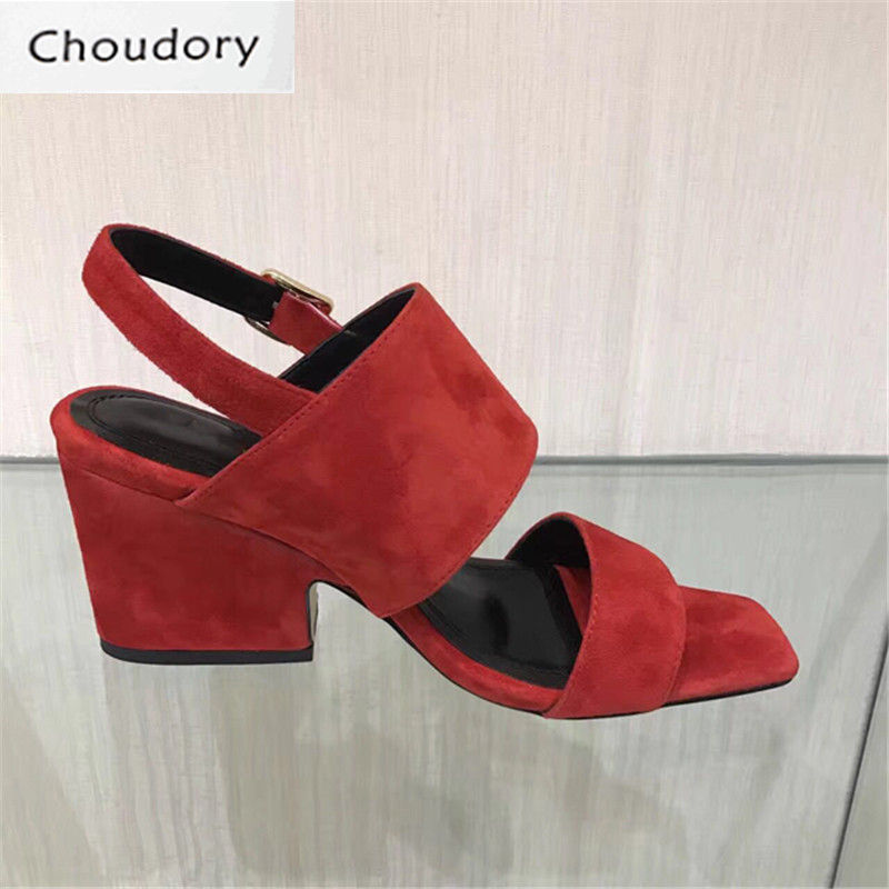 Choudory Casual Buckle Strap Solid New Fashion High Heels Sandals Women Suede Square Heels Shallow Comfortable Sexy Women Shoes