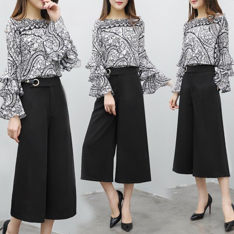 2018 Femmes Mode Pour Pièce 2 De Survêtement Recadrée Jambe Black1 Féminine Grande D'été Qpipsd Mousseline Set Printemps black2 Pantalon Soie Taille Large Haut zpnxEqWwdS