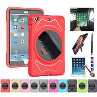 XSKEMP Kids Shockproof Case For iPad Air2 iPad 6 9.7 A1566 A1567 360 Rotatable Stand Hard Car Back Seat Shell + Tempered Glass
