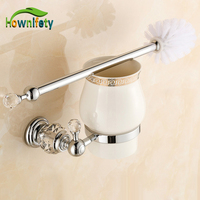 Bathroom Toilet Brushed Holder Ceramic Cup Brush Brass And Crystal Holder Bathroom Accessories