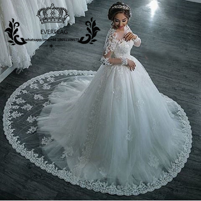 Vestidos De Noiva Sexy Sheer Long Sleeves Wedding Dress 2017 Lace