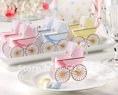 Free Shipping 200pcslot Baby Shower Carriage Favor Box Pink And