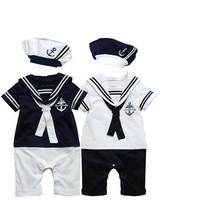 Hi Hi Baby Store USA Newborn Baby Boy Sailor Suit Toddler Outfit Set Romper Cotton Playsuit