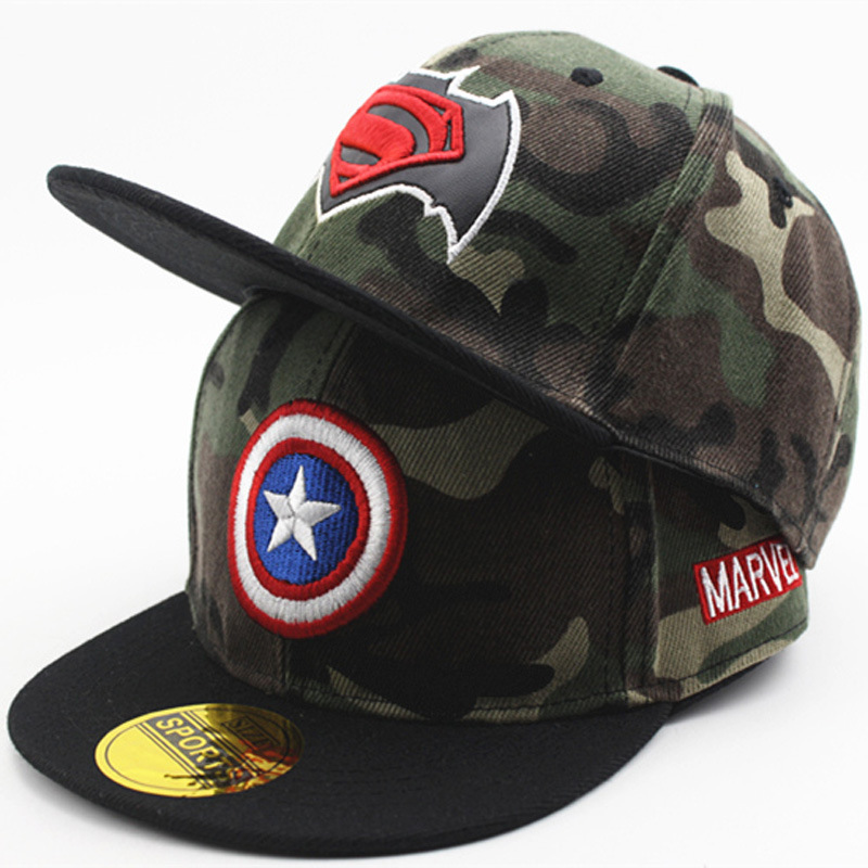Batman Captain America Spiderman Lightning Camouflage Baseball Cap Kids Boys Girls Hip Hop Snapback Caps casquette gorras
