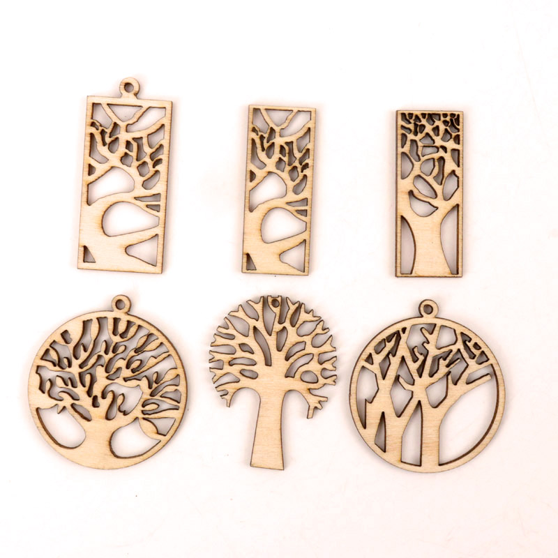 Wooden Craft Hollow Out Tree Pattern Scrapbooking Craft For Wood Decoration Handmade Accessory Sewing Home 40-65mm MZ272