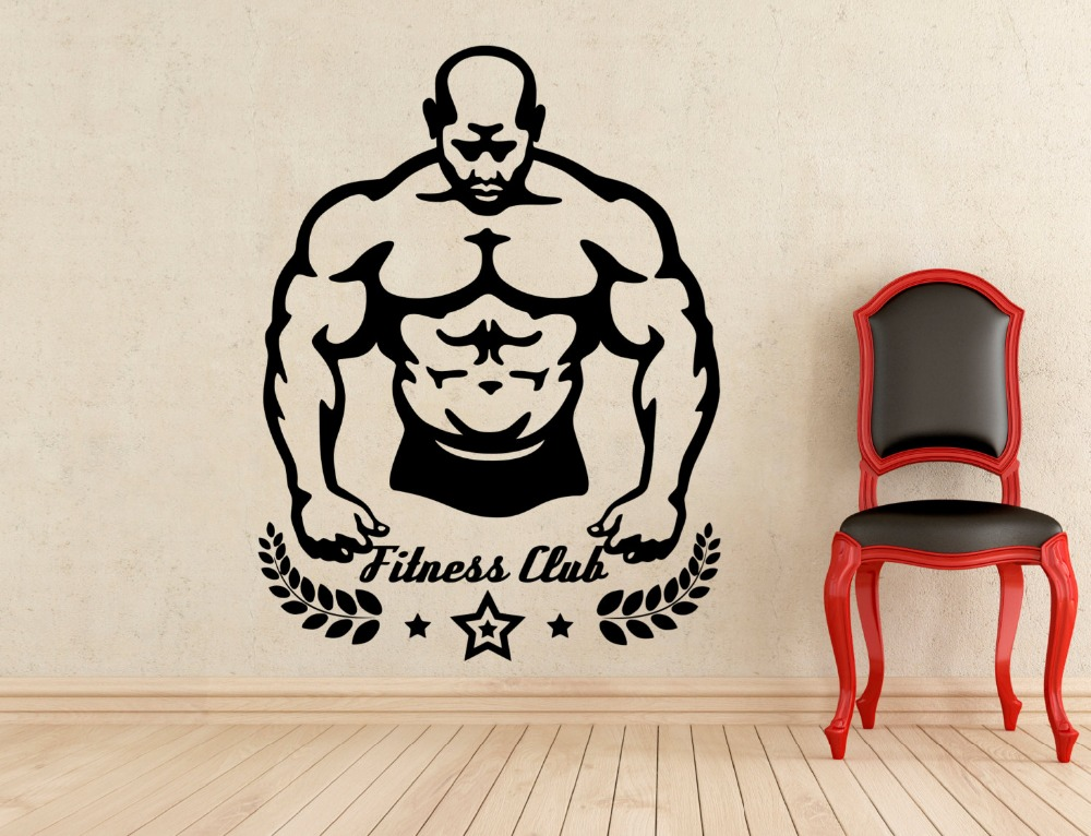 Fitness club wall vinyl decal gym sticker home interior for Deco mural stickers