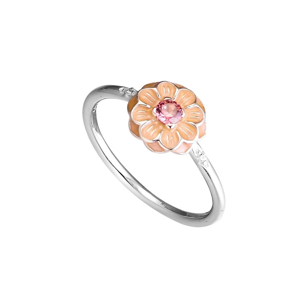 Kvetoucí prsteny Dahlia s krémovým smaltem 100% 925 mincovních - Šperky - Fotografie 3