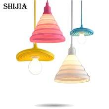 Pendant Lights Colorful LED E27 Lamparas Colgantes Pendente de teto Silicone Vintage Edison Lustre Rope Pendant Lamp Light