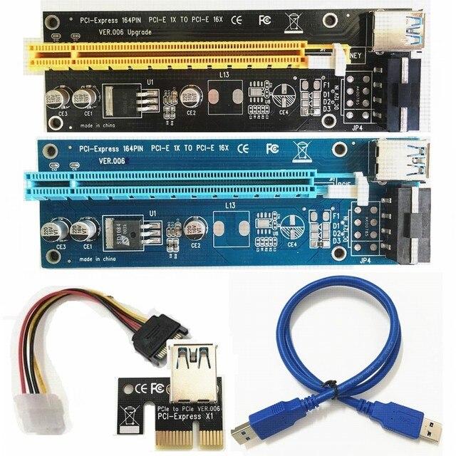 PCI-E Pci e Expresso de 1x a 16x Cartão Riser PCIE USB 3.0 de Dados cabo SATA para 4 Pin IDE Molex Alimentação BTC Bitcoin Mineiro Máquina