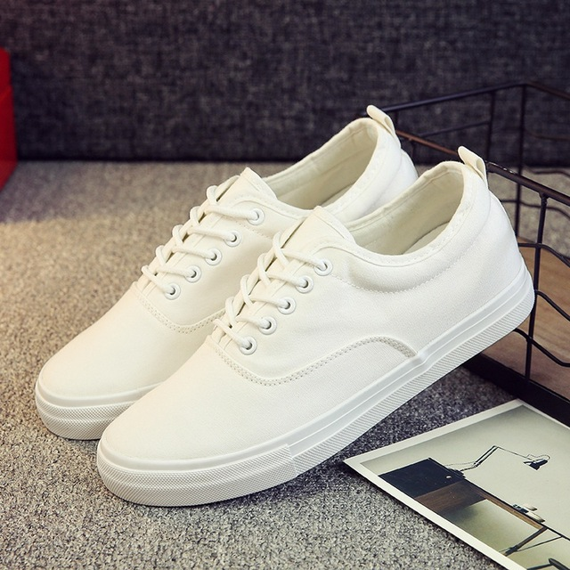 a0d82d8ce62 New Spring Summer Men Canvas Shoes Height Increasing Low White Men Shoes  Lace-Up Breathable Casual Shoes Men Loafers Espadrilles