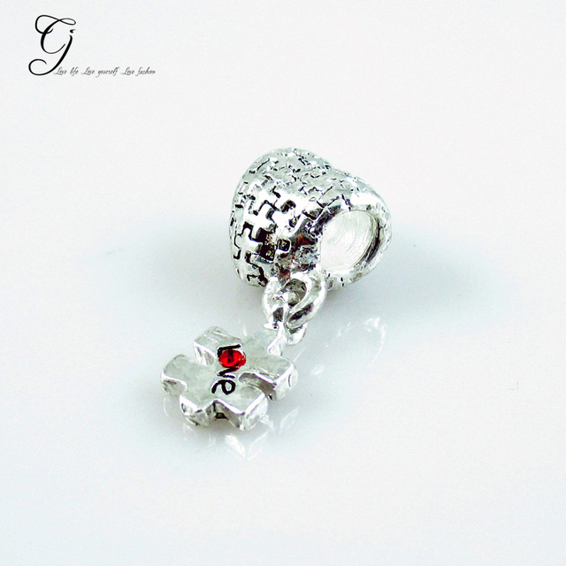 Fits Pandora Bracelets Autism Awareness Puzzle Heart Beads Dangle Love Red Crystal For Diy Jewelry