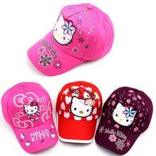 f203f5e8e 2019 Baby hat Spring and summer HELLO KITTY cute cartoon baseball caps  outdoor visor sun hat