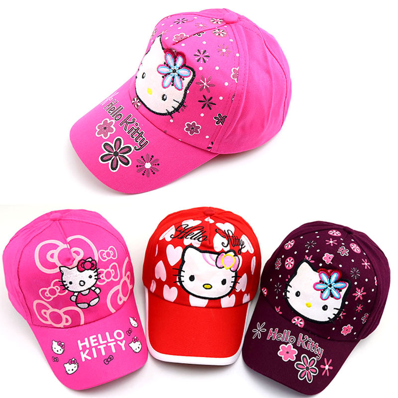 2019 Baby hat Spring and summer HELLO KITTY cute cartoon   baseball     caps   outdoor visor sun hat Snapback kids photography props