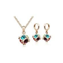 Pendant Necklace & Hoop Earring Jewelry Set Trendy Magic Rubik's Cube Austria Crystal Women Charm Gold Plated Girl Friend Gift