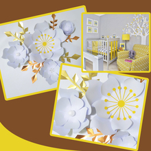 Handmade White Rose DIY Paper Flowers Gold Leaves Set For Party Wedding Backdrops Decorations Nursery Wall Deco Video Tutorials
