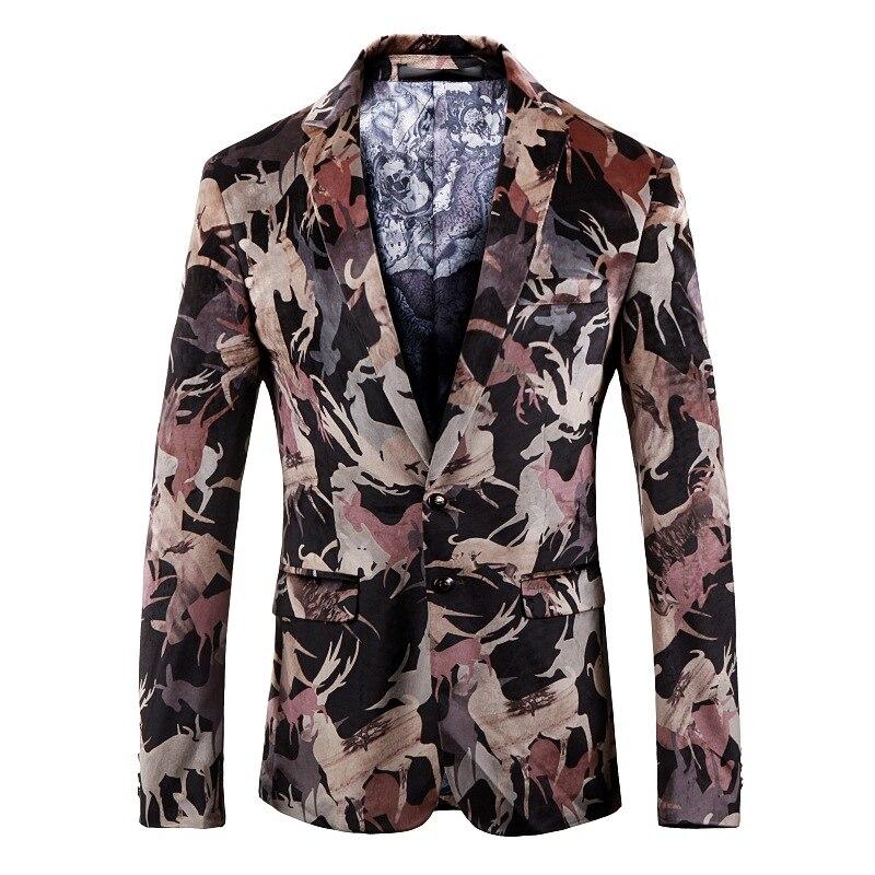 Männer Jacken Der Männer Der Mode Druck Blazer Männer Einreiher Business Casual Jacke Männer Der Partei Bankett Kleid (1)