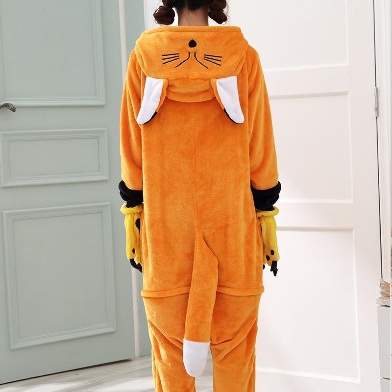 Kawaii Fox Kigurumi Onesie Animal Cartoon Sleepwear Pajama Orange White Soft Onepiece Adult Women Winter Suit Festival Outfit (2)