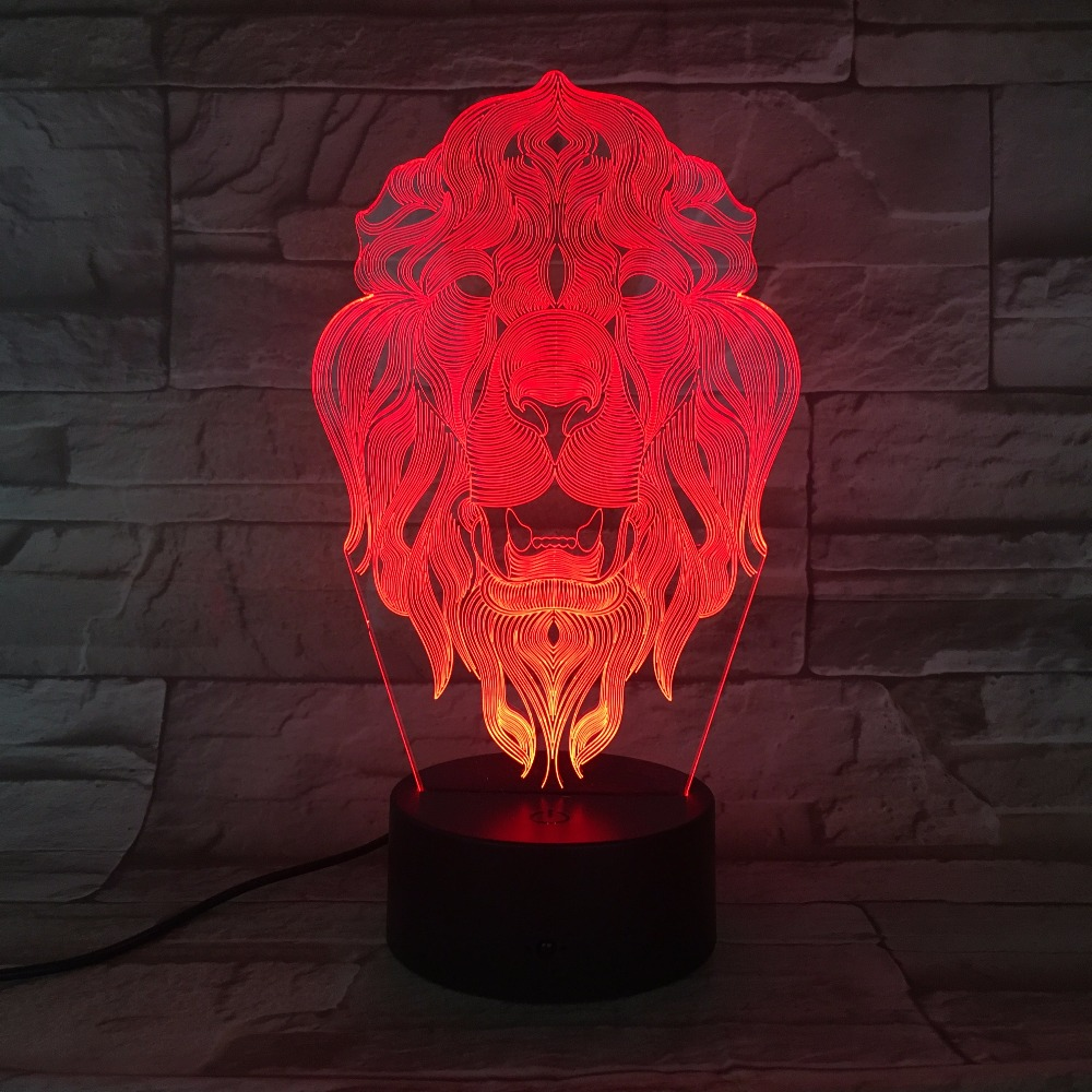 Lion Face Night Light 7 Colors Changing Animal LED Night Lights 3D LED Desk Table Lamp as Home Decoration Drop Shipping usb novelty gifts 7 colors changing animal horse led night lights 3d led desk table lamp as home decoration