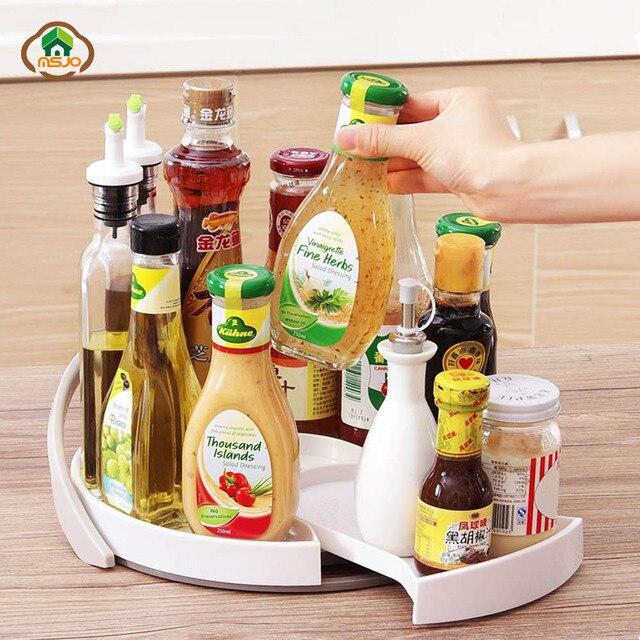 Msjo Kitchen Organizer Racks 360 Degree Turntable Holders Accessories Multi Function Seasoning Bottles Storage