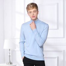 Autumn Winter Men Sweater Men's Turtleneck Solid Color Casual Sweater Mens Slim Fit Brand Knitted Pullovers Casual Pullover