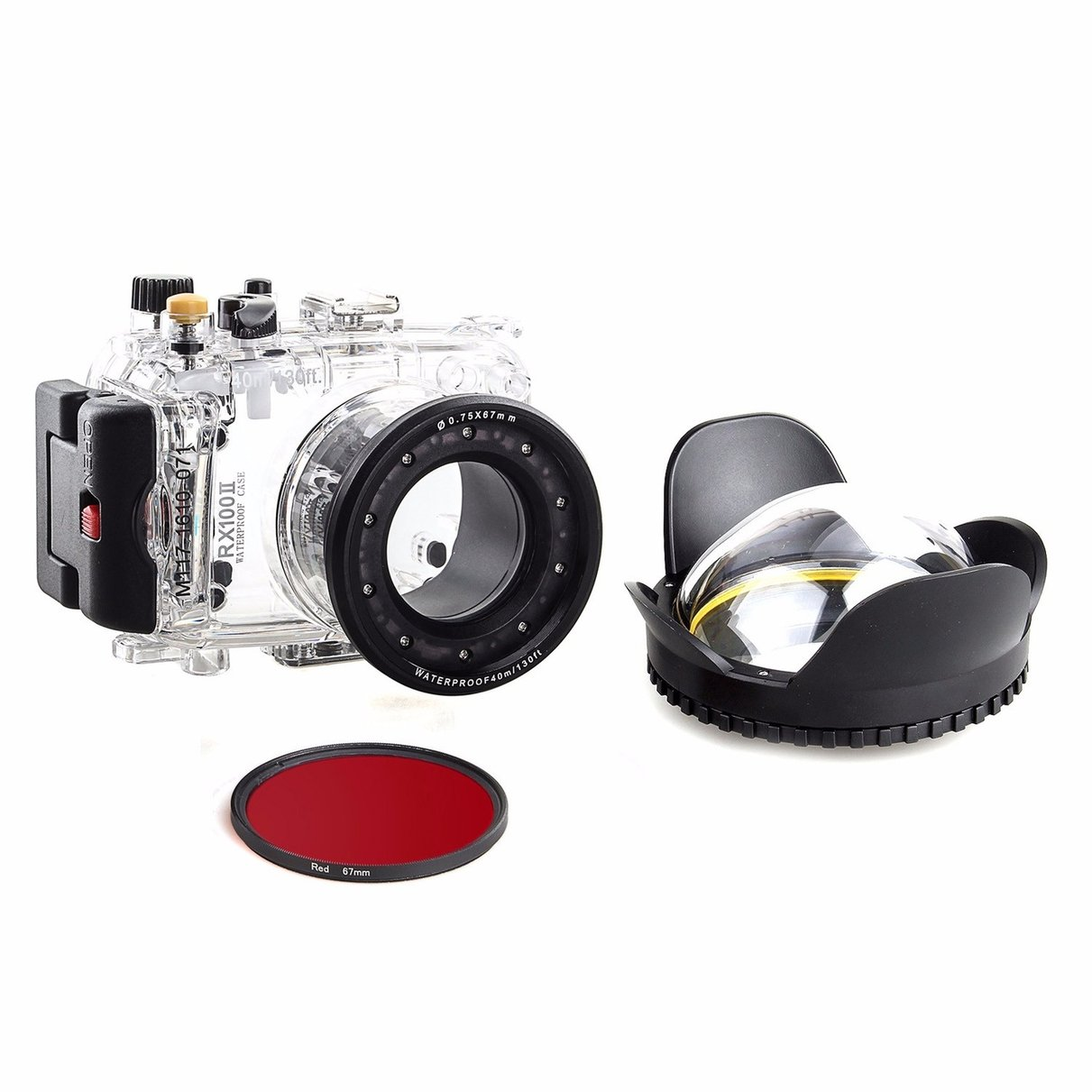 40m/130f Waterproof Underwater Camera Housing Diving Case for SONY DSC RX100 ii + Red Filter 67mm + 67mm Fisheye Lens 1400mah camera battery for sony np bg1 np fg1 dsc h3 dsc w70 bc csge bc csgd w30