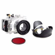 40m/130f Waterproof Underwater Camera Housing Diving Case for SONY DSC RX100 ii + Red Filter 67mm + 67mm Fisheye Lens