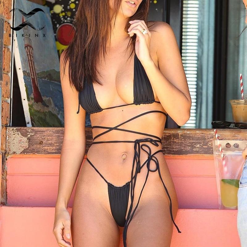 2020 Brazilian Micro Bikini Thong Extreme Bandage Sexy Swimsuit Female Bathers Push Up High Cut Swimwear Women Bathing Suit New