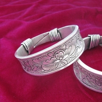 Guizhou Miao Traditional Ornaments Handmade Miao Silver Thick Bracelets Double Phoenix Peony Bracelets