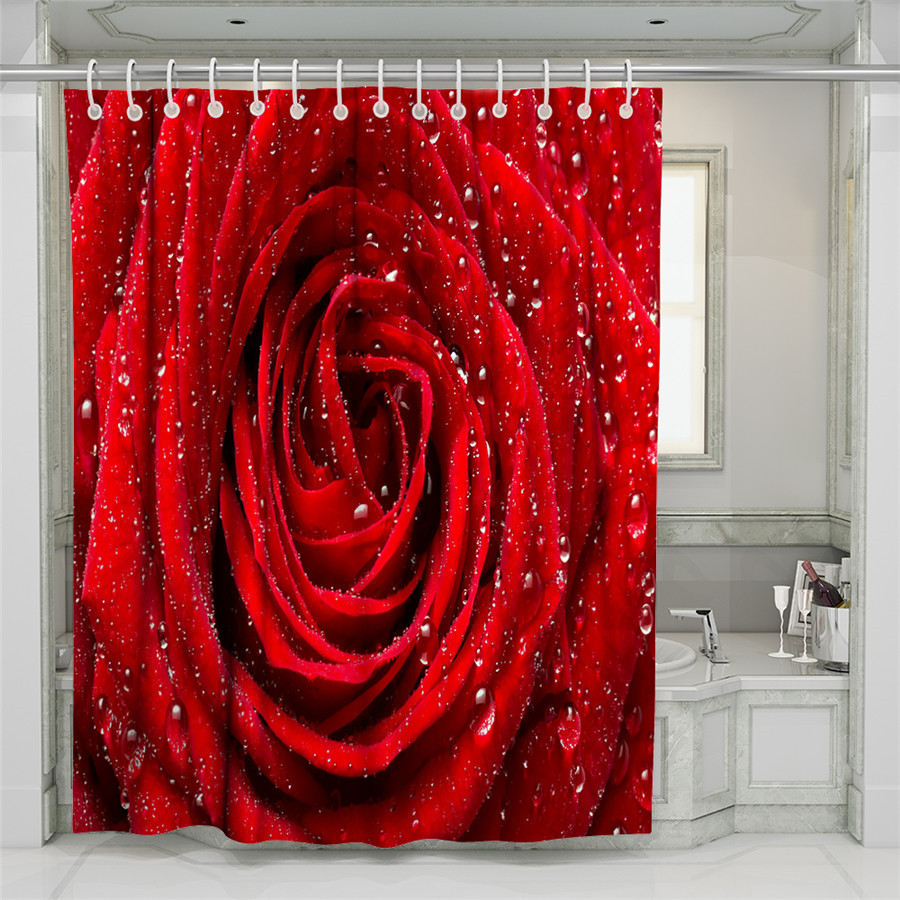 3D Rose Forest Beach Shower Curtain Bathroom Waterproof Polyester Printing Curtains for Bathroom Shower