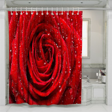 3D Rose Forest Beach Shower Curtain Bathroom Waterproof Polyester Printing Curtains for