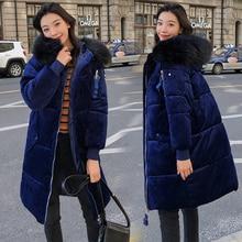 YTNMYOP зимняя женская одежда НОВАЯ тонкая модная бархатная парка Женская Толстая теплая хлопковая стеганая куртка пальто размера плюс 3XL