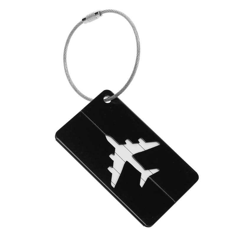 Aluminum Alloy Luggage Tag Checked Boarding Card Holder Airplane Pattern Travel Accessories Baggage Name Tags Outdoor Tools