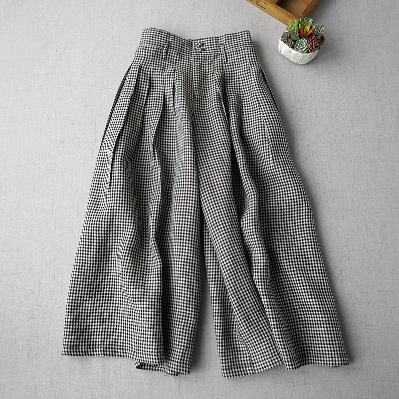 Spring Summer Women Casual All-match Loose Plus Size Japanese Style Plaid Linen Trousers Elastic Waist   Wide     Leg     Pants