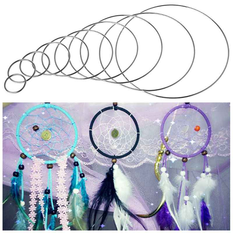 1Pc 3.5-19 ซม.รอบเชื่อมโลหะ Dream Catcher Dreamcatcher แหวนหัตถกรรม Hoop อุปกรณ์เสริม DIY 10 ขนาด