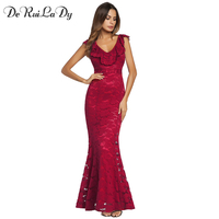 DeRuiLaDy 2018 Women Spring Summer Sexy Lace Long Dress Ruffle V Neck Elegant Sexy Backless Party