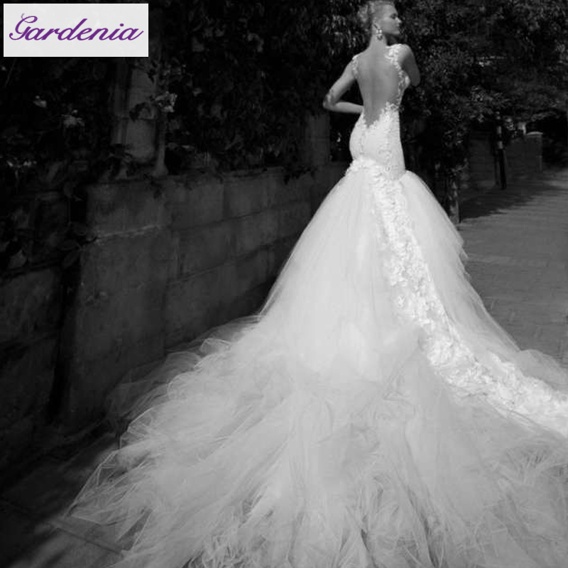 Low Cut Wedding Gowns: Latest Design Detachable Train Sexy Low Cut Backless