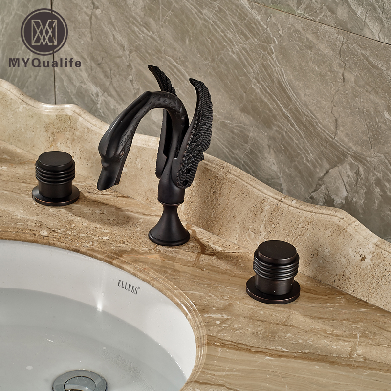 Oil Rubbed Bronze Widespread Bathroom Mixer Crane Taps Deck Mount Two Handle Basin Sink Faucet deck mount countertop bathroom kitchen faucet single handle tall basin sink mixer taps oil rubbed bronze