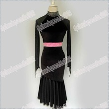 BLACK VELVET. Latin Salsa Tango Rumba Cha Cha Costumes Modern Exercise BallroomDRESS,DANCE DRESS, LATIN DANCE WEAR IN GIRL.