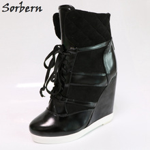 Sorbern Black Oil Pu Women Boots Ankle High Lace-Up Us Size 15 Wedge Heeled Shoes For Footwear