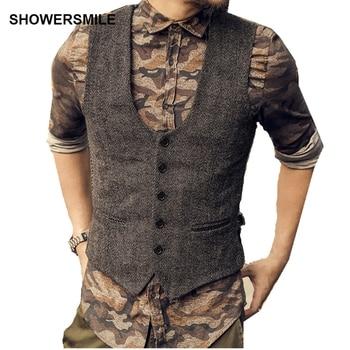 SHOWERSMILE Dark Grey Suit Vest Mens Wool Tweeds Autumn Vintage Slim Fit Striped Waistcoat England Style Sleeveless Jacket Gilet