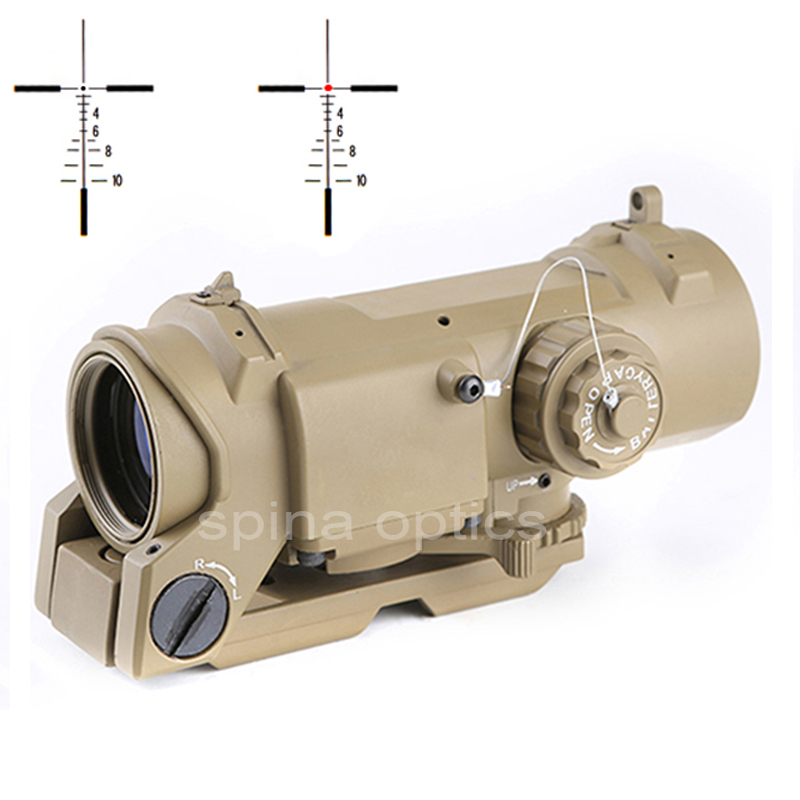 SPINA OPTICS Tactical Rifle <font><b>Scope</b></font> Quick Detachable <font><b>1X</b></font>-<font><b>4X</b></font> Adjustable Dual Role Red Dot Sight <font><b>4x</b></font> Riflescope For Hunting shooting image